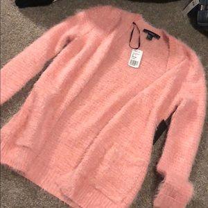 Pink furry cardigan